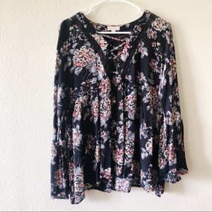 ODDY Black Floral Peasant Top